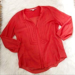 Diane Von Furstenburg Red Long Sleeve Blouse